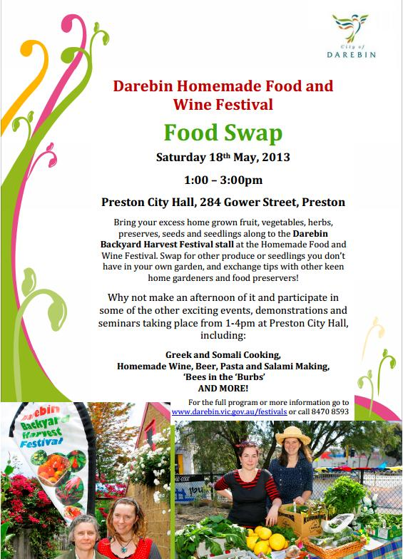 Darebin Homemade Food and Wine Festival 2013 - Food Swap poster
